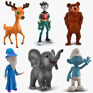 cartoon rigged characters 3 model