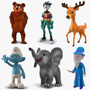 3D cartoon rigged characters 3