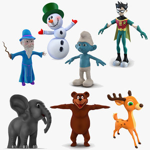 3D cartoon characters 4 rigged