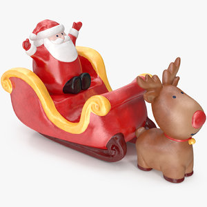 santa claus sleigh decorative 3D model