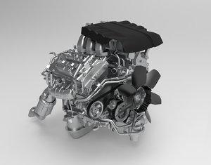 toyota land cruiser engine 3D model