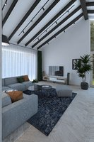 Spacious living room with sliding ceilings