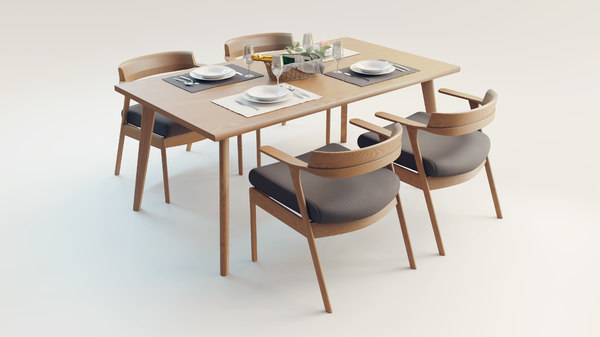 Wooden Dining Set 3d Model Turbosquid, Wood Dining Room Table Chairs