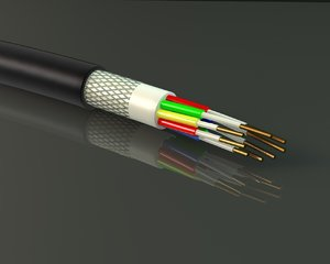 electric cable cross section 3D model