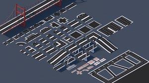 3 1 roads street elements 3D