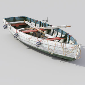 old wooden boat 3D model