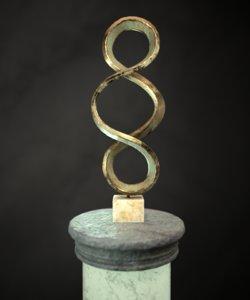 3D bronze art sculpture pillar