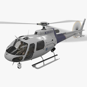 3D helicopter as-350 customs border