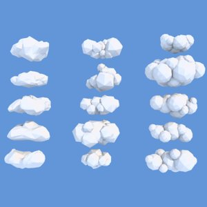 3D model cartoon clouds 15
