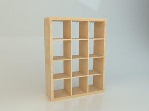 simple ikea kallax realistic 3D model
