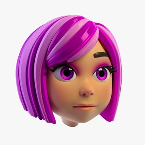 3D lovely cartoon girls head
