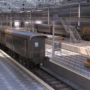 3D train station model