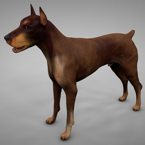 doberman rigged l617 animate 3D model