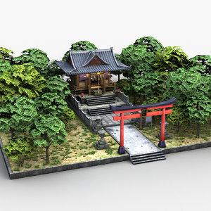 japanese shrine temple 3D model