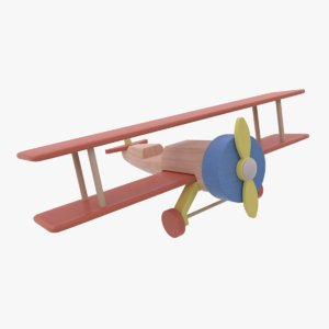 3D colored wooden airplane toy model
