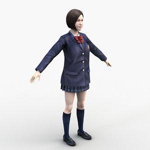 3D japanese school girl model