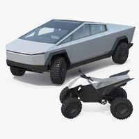 Tesla Cybertruck with Cyberquad ATV Rigged