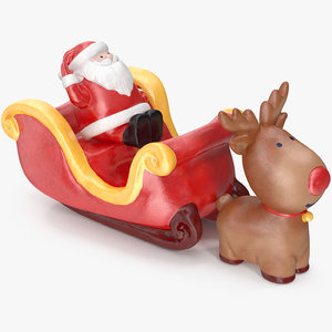 santa claus sleigh decorative 3D
