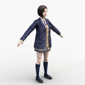 3D model japanese school girl