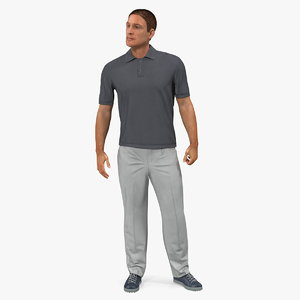 3D man casual style fur model