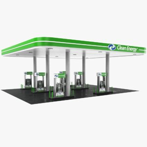 3D real gas station cleaning model