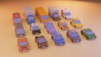 15 Cartoon Low Poly Cars