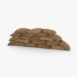 3D sandbags barricade sand model