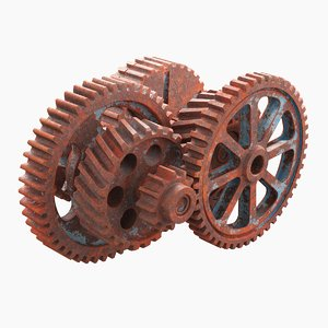 rusted mechanism gear 3D model