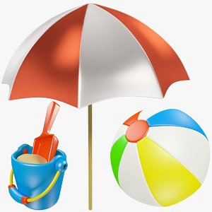 set beach ball toy 3D model