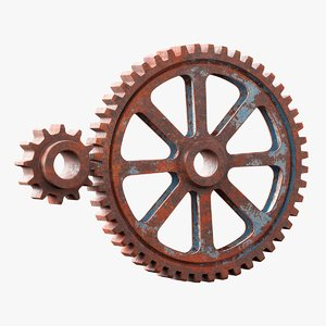 2 rusted gears 3D model