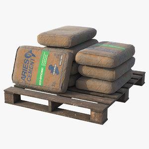 3D model pbr cement bag pallet