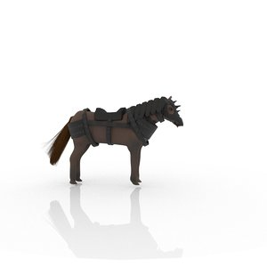 3D rigged horse armored model