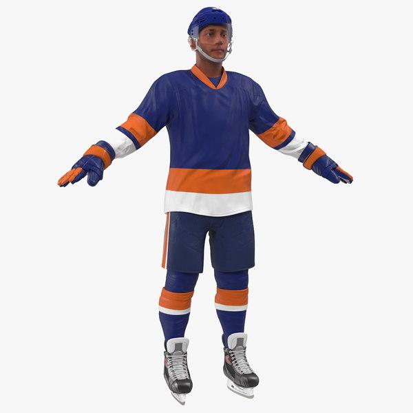 3D hockey player blue rigged