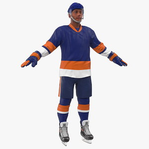 3D hockey player blue rigged