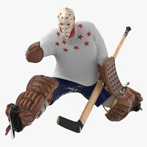 ice hockey goalie catching 3D model
