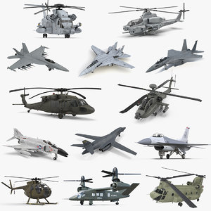 3D military aircrafts 3