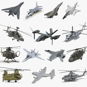 3D rigged military aircrafts 3