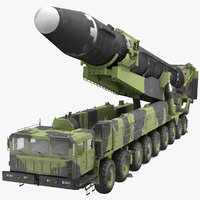 Transporter Erector Vehicle Hwasong-15 with Intercontinental Ballistic Missile Dirty Rigged