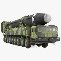 Hwasong-15 Transporter Erector Vehicle with Intercontinental Ballistic Missile Dirty