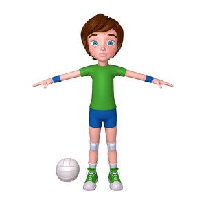 3D volleyball player cartoon model
