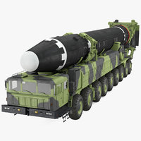 Hwasong-15 Transporter Erector Vehicle with Intercontinental Ballistic Missile Clean