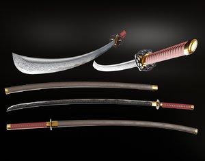 katana sword weaponry 3D model