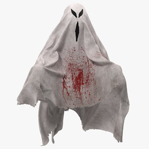 evil ghost bedsheet flying 3D model
