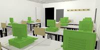 class room interior classroom office chair desk pc keyboard 3D model