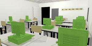 class room interior classroom 3D