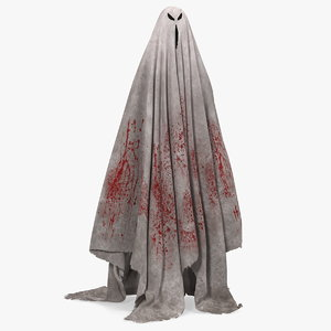 bloody evil ghost bedsheet 3D model