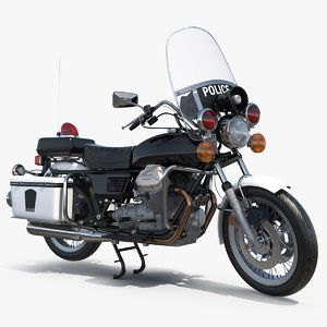 classic police bike rigged 3D model