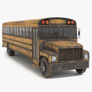 3D model abandoned school bus