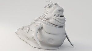 microbe virus monster 3D model