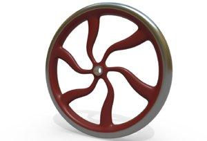 3D vintage hand wheel crank